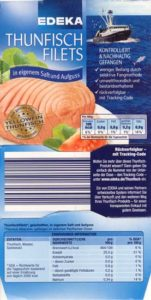 Dosenetikett des delfintödlichen Thunfisch von EDEKA