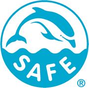 Logo SAFE für delfinsicher gefangenen Thunfisch - Blau.