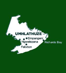 Karte Umhlathuze Municipality.